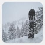Snowboard en nieve pegatina cuadradas personalizada