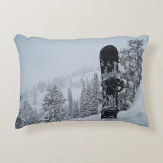Snowboard In Snow Accent Pillow