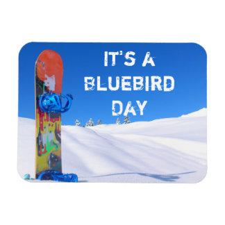 Snowboard in Snow, Bluebird Day Rectangular Photo Magnet