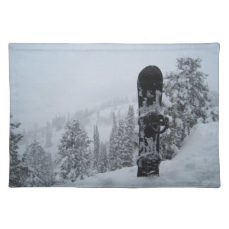 Snowboard In Snow Cloth Place Mat