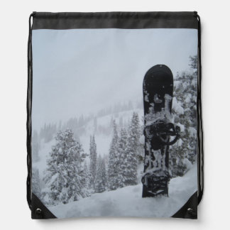 Snowboard In Snow Drawstring Backpack