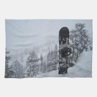 Snowboard In Snow Kitchen Towels