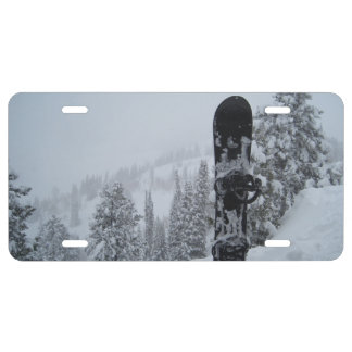 Snowboard In Snow License Plate