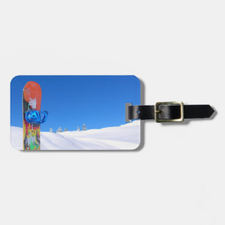 Snowboard in Snow on Snowy Slope Bluebird Day Tags For Luggage