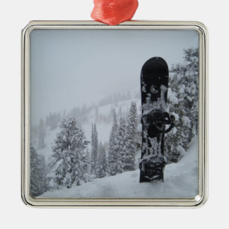 Snowboard In Snow Square Metal Christmas Ornament
