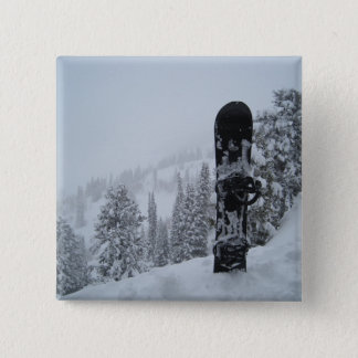 Snowboard In Snow Pinback Button