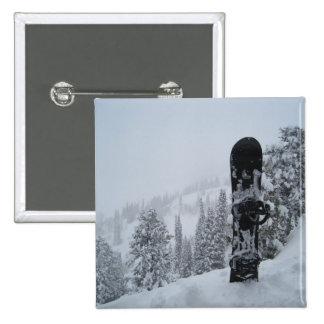 Snowboard In Snow Pinback Button