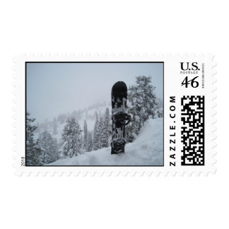 Snowboard In Snow Postage Stamp