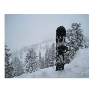 Snowboard In Snow Postcard