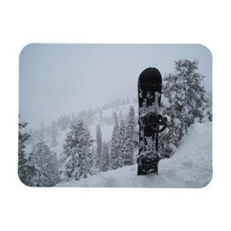 Snowboard In Snow Rectangular Photo Magnet