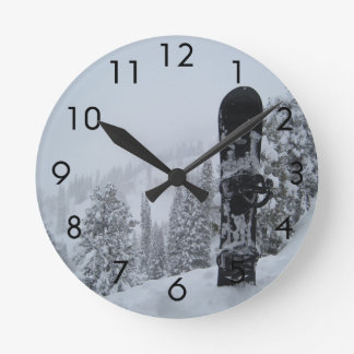 Snowboard In Snow Round Clock