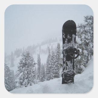 Snowboard In Snow Square Sticker