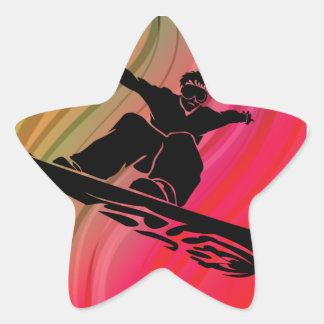 Snowboard Jump Star Sticker