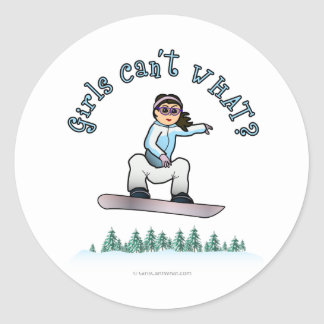 Snowboard ligera de los chicas pegatina redonda