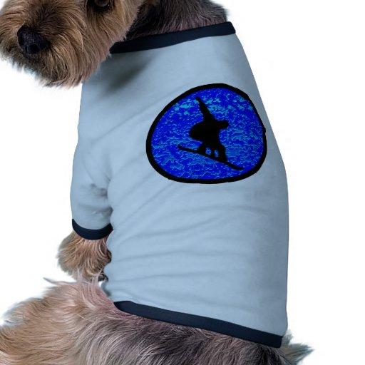 Snowboard muchas lunas camiseta con mangas para perro