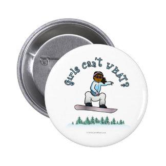 Snowboard para mujer oscura pin redondo de 2 pulgadas