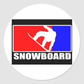 snowboard etiqueta redonda