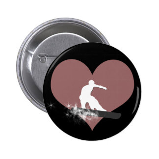 snowboard. powder trail. pinback button