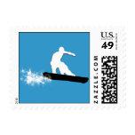 snowboard. powder trail. postage stamps