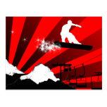 snowboard. powder trail. postcard
