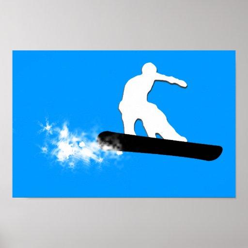 snowboard powder trail poster