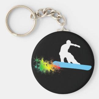 snowboard. rainbow. basic round button keychain