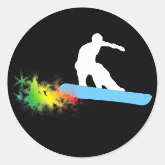 snowboard. rainbow. classic round sticker