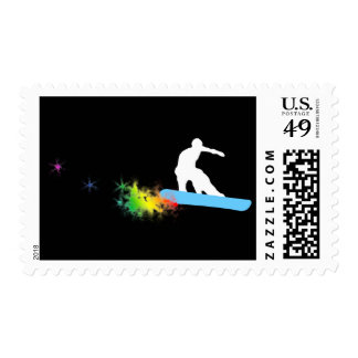 snowboard. rainbow trail. postage
