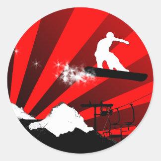 snowboard: rastro del polvo pegatina redonda