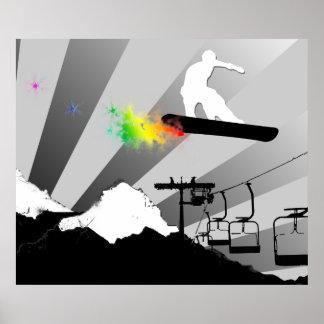 snowboard. rastro del polvo póster