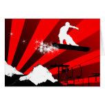 snowboard. rastro del polvo tarjeta