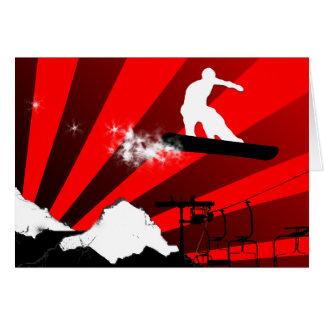 snowboard. rastro del polvo tarjeta de felicitación