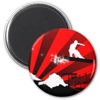 snowboard. rayos rojos iman de nevera
