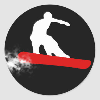 snowboard. red. classic round sticker