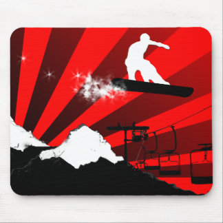 snowboard. red. mouse pad