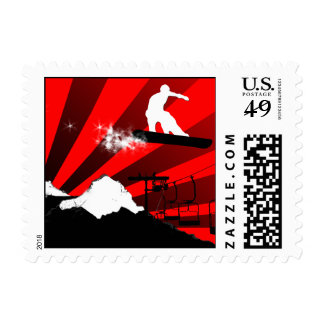 snowboard. red. postage stamp