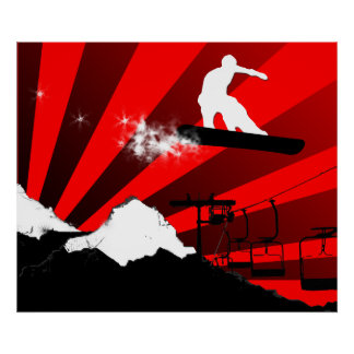 snowboard. red. poster
