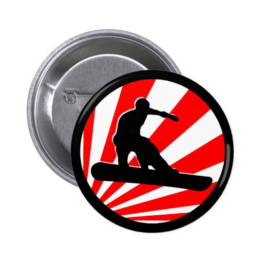 snowboard. red rays. pinback button