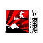 snowboard. red. stamps