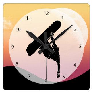 Snowboard Reloj Cuadrado