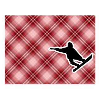 Snowboard roja de la tela escocesa postal