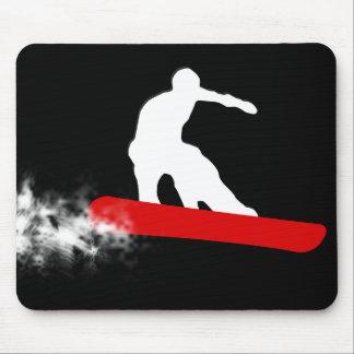 snowboard. rojo alfombrillas de ratón