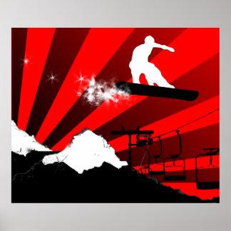 snowboard. rojo póster