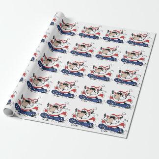 Snowboard Santa Wrapping Paper