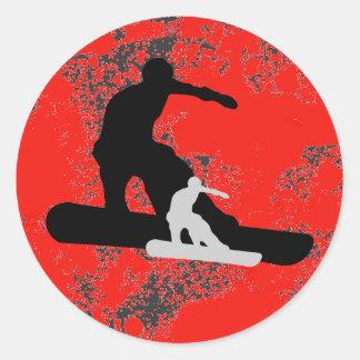 snowboard. shadowstance. pegatina redonda