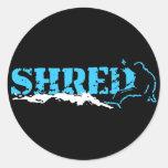 snowboard. shred. classic round sticker