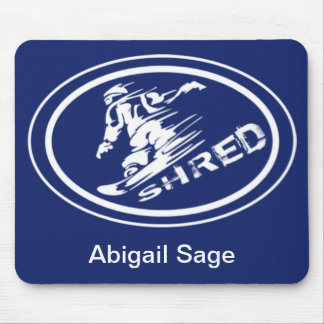 """Snowboard """"SHRED"""" Oval Silhouette Snowboarder Tag Mouse Pad"""