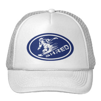 """Snowboard """"SHRED"""" Oval Snowboarder Tag Hat"""