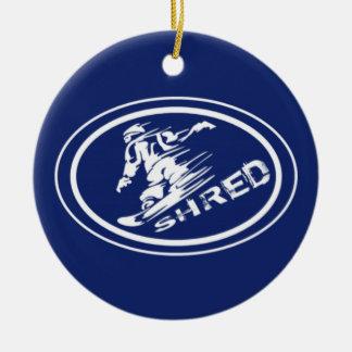"Snowboard ""SHRED"" Oval Snowboarder Tag Ornament"