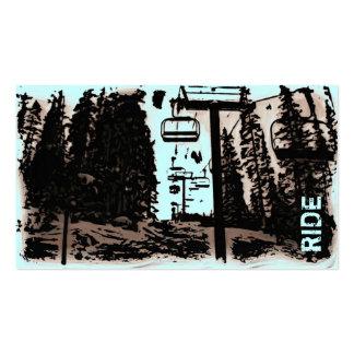 Snowboard Ski lessons custom lift business cards